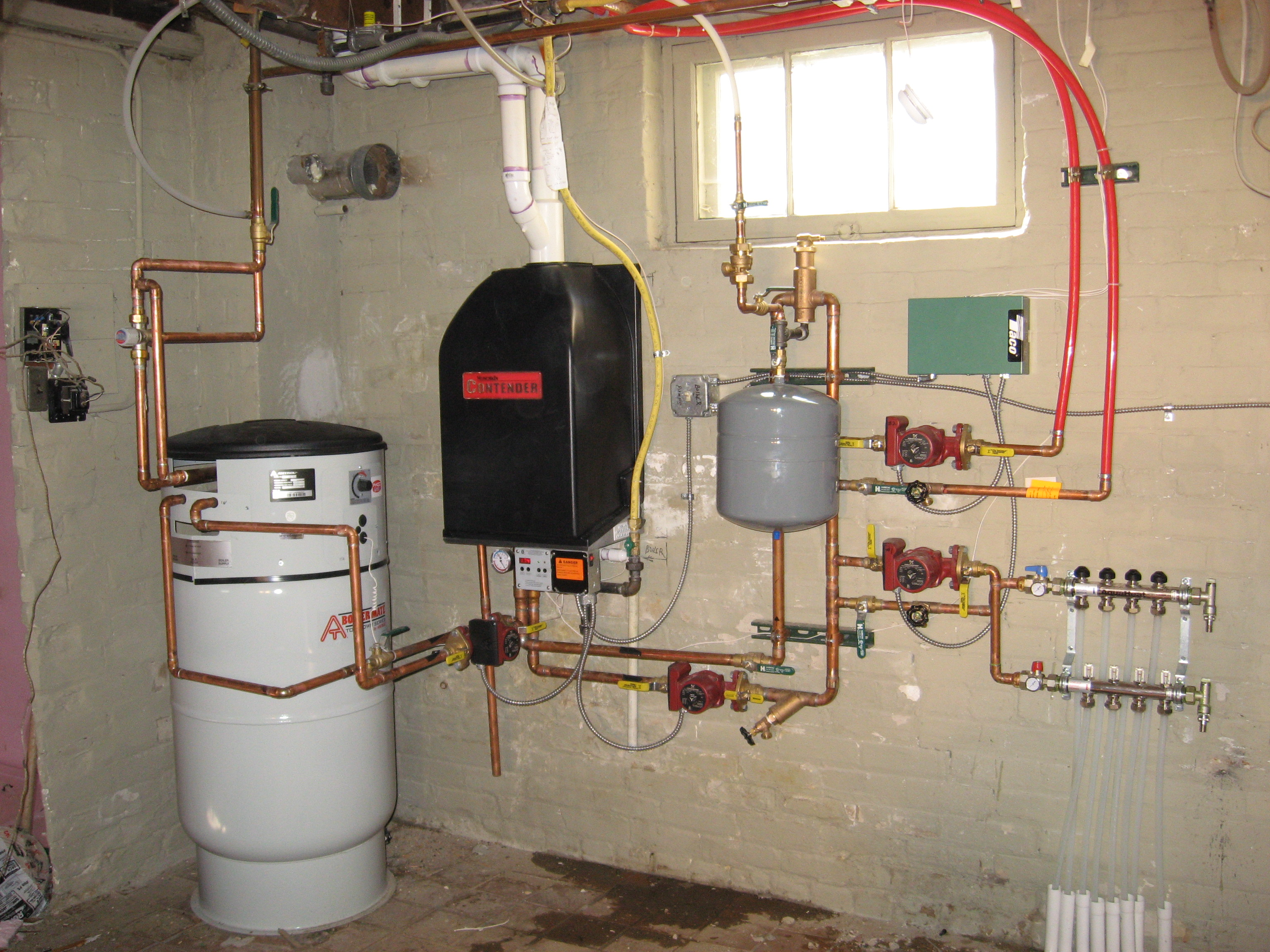 Hydronic heating service heritage plumbing and for Pex hot water heating system